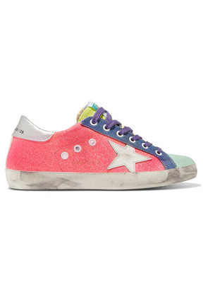 Golden Goose Deluxe Brand - Superstar Glittered Distressed Canvas And Metallic Textured-leather Sneakers - Pink