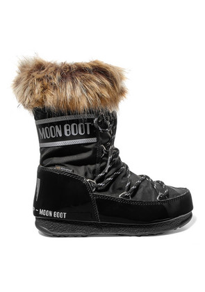 Moon Boot - Monaco Faux Fur-trimmed Shell And Faux Leather Snow Boots - Black