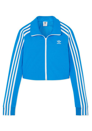 adidas Originals - Cropped Striped Stretch-jersey Track Jacket - Royal blue