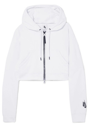 Nike - Nikelab Cropped Cotton-blend Terry Hooded Top - White
