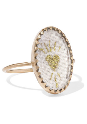 Pascale Monvoisin - Blossom N°3 9-karat Gold, Cotton And Glass Ring - 7