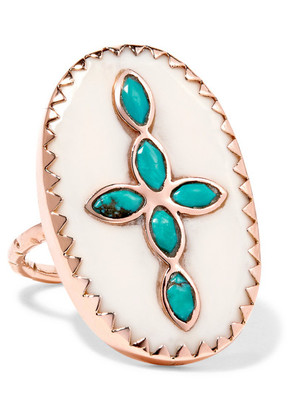 Pascale Monvoisin - Bowie 9-karat Rose Gold, Turquoise And Resin Ring - 7