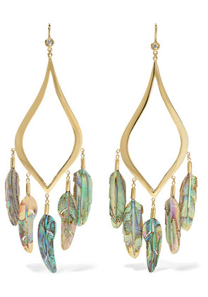 Jacquie Aiche - 14-karat Gold, Diamond And Shell Earrings - one size