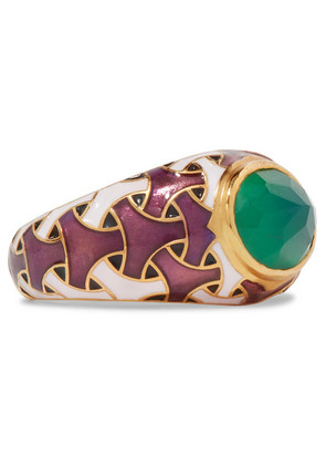 Percossi Papi - Gold-tone, Enamel And Agate Ring - 7