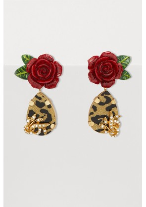 Roses and leopard earrings