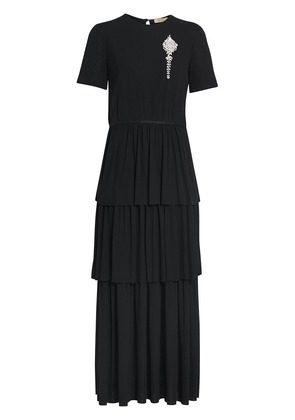 Burberry Crystal Brooch Detail Tiered Jersey Dress - Black