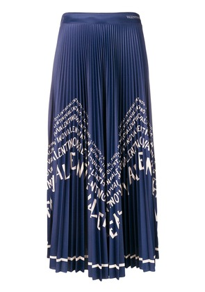 Valentino logo pleated maxi skirt - Blue