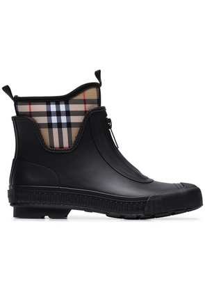 Burberry Vintage check neoprene and rubber rain boots - Black