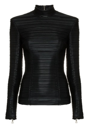 Balmain High-neck ribbed faux leather top - Black