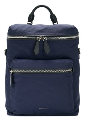 Burberry Zip-top Leather Trim Showerproof backpack - Blue