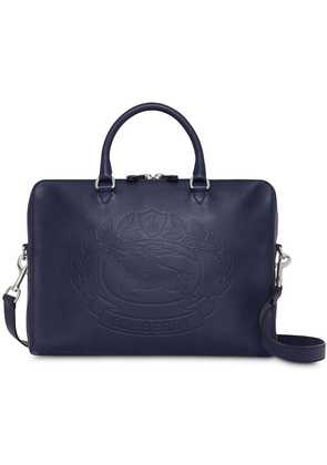 Burberry Embossed Crest Leather Briefcase - Blue