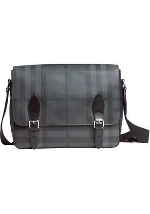 Burberry Medium Leather Trim London Check messenger bag - Black