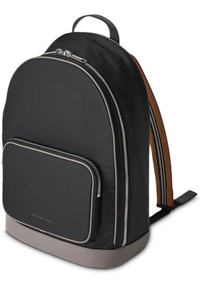 Burberry Heritage Stripe Detail Nylon Backpack - Black