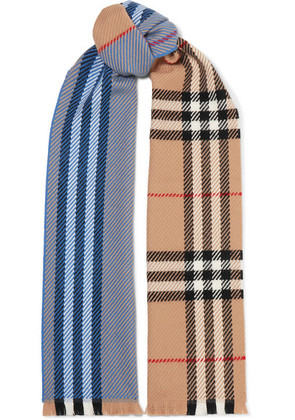 Burberry - Checked Wool Scarf - Blue