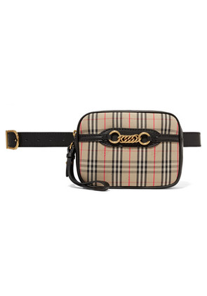 Burberry - Embellished Leather-trimmed Checked Cotton-drill Belt Bag - Beige
