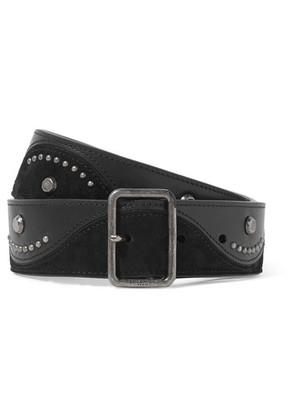 Saint Laurent - Studded Suede And Leather Waist Belt - Black