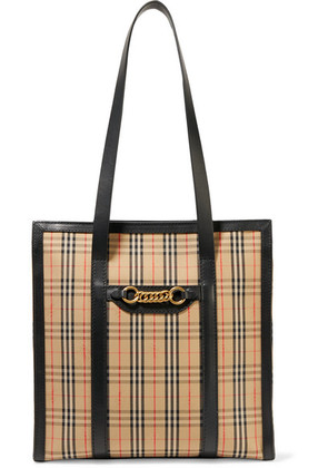 Burberry - Embellished Leather-trimmed Checked Cotton-drill Tote - Beige
