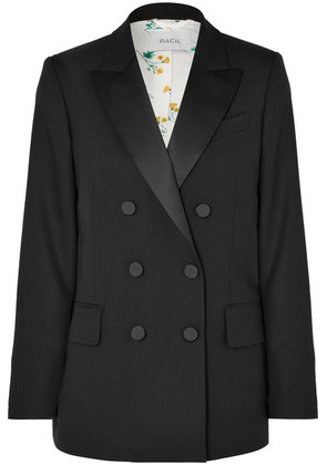 Racil - Casablanca Double-breasted Satin-trimmed Wool Blazer - Black