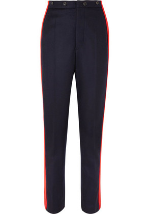 Joseph - Annam Striped Wool And Cashmere-blend Felt Straight-leg Pants - Navy