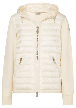 Moncler - Hooded Quilted Shell And Cotton-jersey Down Jacket - White