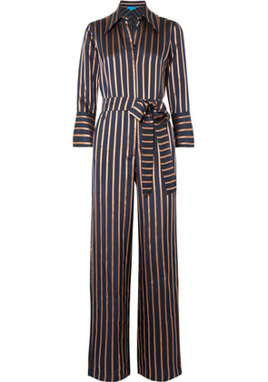 M.i.h Jeans - Dexy Belted Striped Jacquard Jumpsuit - Navy