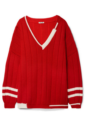 Miu Miu - Oversized Striped Ribbed Wool Sweater - Red
