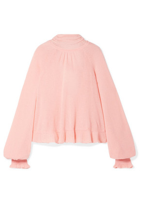 Ulla Johnson - Clover Ruffled Pussy-bow Cashmere-blend Open-back Sweater - Baby pink