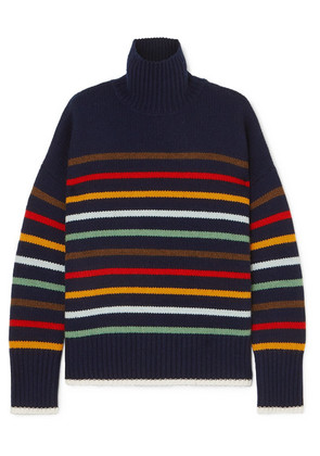 La Ligne - Marin Striped Wool And Cashmere-blend Turtleneck Sweater - Navy