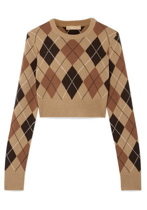 Michael Kors Collection - Cropped Argyle Cashmere Sweater - Brown