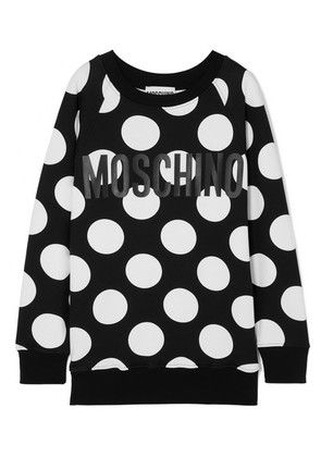 Moschino - Printed Cotton-jersey Sweater - Black