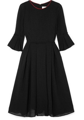 Cefinn - Grosgrain-trimmed Voile Midi Dress - Black