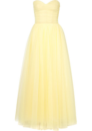 Monique Lhuillier - Strapless Ruched Tulle Gown - Pastel yellow