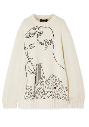 CALVIN KLEIN 205W39NYC - + Andy Warhol Foundation Oversized Intarsia Wool Sweater - Cream