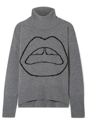Markus Lupfer - Erin Oversized Intarsia Wool Turtleneck Sweater - Gray