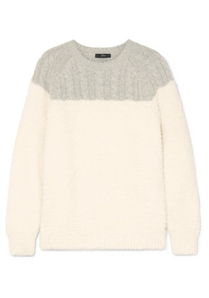 J.Crew - Allen Two-tone Cable-knit Wool-blend And Brushed Knitted Sweater - Cream