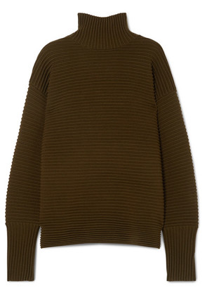 Victoria, Victoria Beckham - Ribbed Merino Wool Turtleneck Sweater - Army green