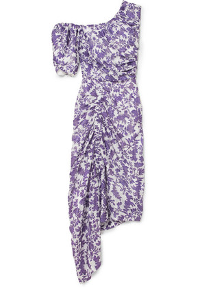 Preen by Thornton Bregazzi - Nicole One-shoulder Ruched Floral Print Jacquard Dress - Purple