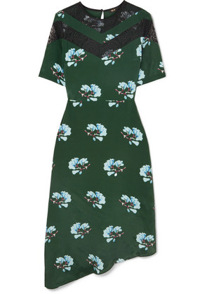Maje - Asymmetric Lace-trimmed Floral-print Crepe De Chine Dress - Green