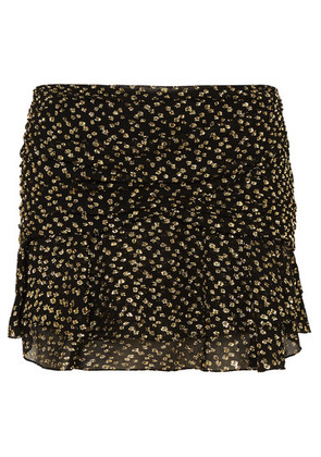 Saint Laurent - Ruched Metallic Fil Coupé Silk-blend Chiffon Mini Skirt - Black