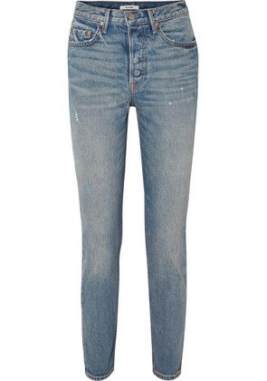 GRLFRND - Karolina Distressed High-rise Skinny Jeans - Light denim