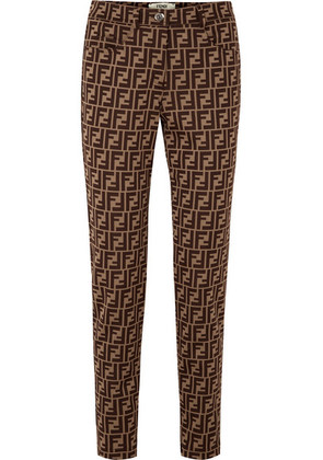 Fendi - Intarsia Cotton-blend Skinny Pants - Brown