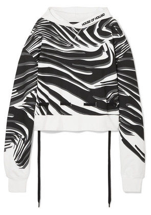 House of Holland - Oversized Printed Cotton-jersey Hoodie - White