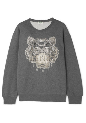 KENZO - Embellished French Cotton-terry Sweatshirt - Dark gray