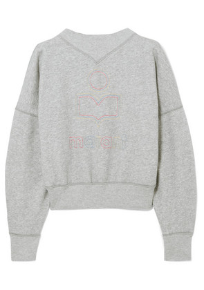 Isabel Marant Étoile - Odilon Embroidered Cotton-blend Jersey Sweatshirt - Gray