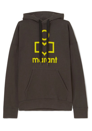 Isabel Marant Étoile - Mansel Flocked Cotton-blend Jersey Hoodie - Black