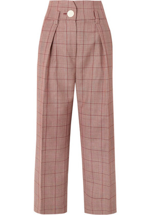 Petar Petrov - Pleated Checked Wool And Mohair-blend Wide-leg Pants - Red
