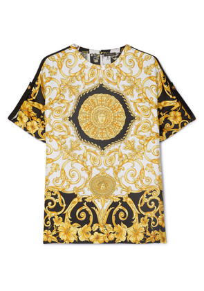 Versace - Printed Silk-twill Top - Yellow