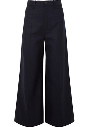 Joseph - Dana Wool-blend Twill Wide-leg Pants - Navy