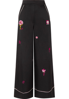 Temperley London - Georgie Embroidered Satin Wide-leg Pants - Black