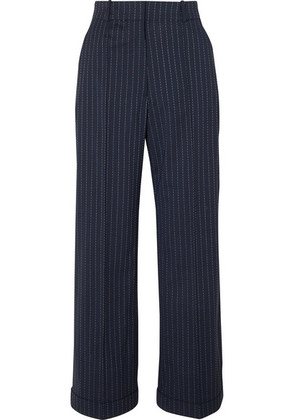 Racil - Charlie Pinstriped Stretch-wool Wide-leg Pants - Navy